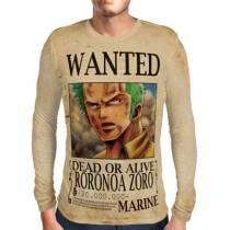 Camisa Manga Longa Print WANTED Roronoa Zoro V1 - ONE PIECE