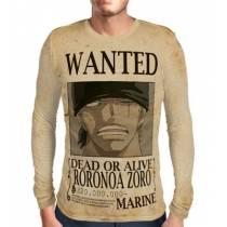 Camisa Manga Longa Print WANTED Roronoa Zoro V2 - ONE PIECE