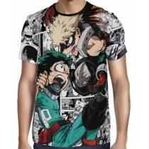 Camisa Full PRINT Mangá Bakugou VS Midoriya - Boku No Hero Academia