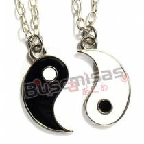 NA-169 - Colar Duplo Simbolo Tribal Yin Yang Metades  - O PAR