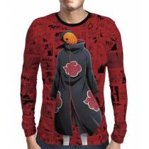Camisa Manga Longa Print Red Mangá Naruto - Tobi
