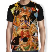 Camisa FULL Tripulação Chapéu De Palha - One Piece
