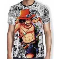 Camisa Full Print Mangá Ace - One Piece