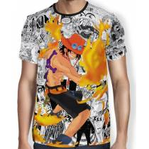 Camisa Full Print Mangá Fire Ace - One Piece