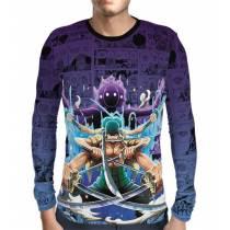 Camisa Manga Longa Print Purple Mangá Zoro - One Piece