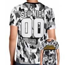 Camisa Full PRINT Camuflada Cinza PUBG Logo - Personalizada Modelo Nick Name e Número