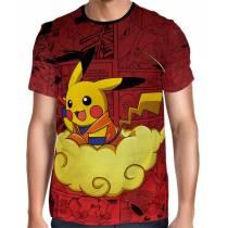Camisa Full Print Pokemon - Pikachu Nuvem Voadora
