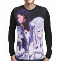 Camisa Manga Longa RE:ZERO - Subaru, Emilia e Rem