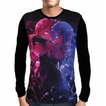 Camisa Manga Longa Print Preta Rem e Ram - Re: Zero