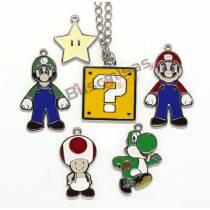 SMB-KIT01 - Kit 6 Pingentes Super Mario Bros + 1 Colar
