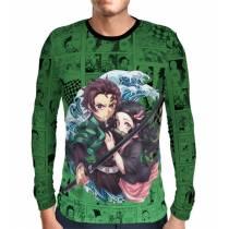 Camisa Manga Longa Green Mangá Kimetsu no Yaiba - Tanjiro e Nezuko