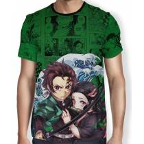 Camisa Full PRINT Green Mangá Kimetsu no Yaiba - Tanjiro e Nezuko