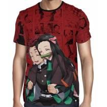 Camisa Full PRINT Red Mangá Kimetsu no Yaiba - Tanjiro e Nezuko