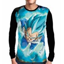 Camisa Manga Longa Blue God Vegeta - Dragon Ball Super