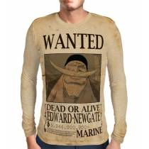 Camisa Manga Longa Print Wanted Barba Branca Edward Newgate Com Recompensa - One Piece