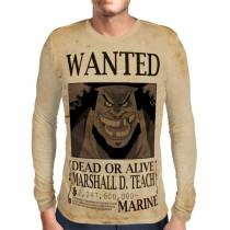 Camisa Manga Longa Print WANTED Barba Negra Marshal D Teach Com Recompensa - One Piece