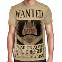 Camisa Full Print Wanted Gol D Roger Com Recompensa - One Piece