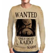 Camisa Manga Longa Print Wanted Kaido Com Recompensa - One Piece
