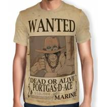 Camisa Full Print Wanted PORTGAS D ACE  - One Piece
