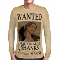 Camisa Manga Longa Print Wanted Shanks Com Recompensa - One Piece