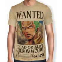 Camisa Full Print Wanted Roronoa Zoro V1 - One Piece