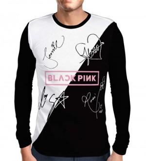 Camisa Manga Longa Blackpink - Autógrafos Preto/Branco Especial - Só Frente - K-Pop