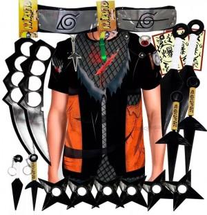 Kit Ninja Kunai Camisa Uniforme Naruto Anel Colar Shuriken Bandana Itachi K62