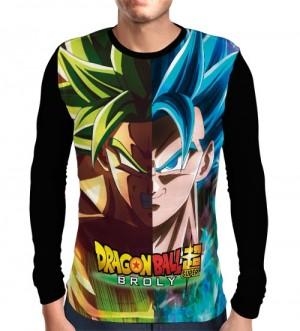 Camisa Manga Longa Broly/Gogeta - Dragon Ball Super
