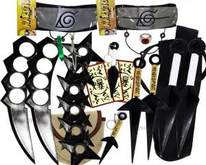 Kit Ninja Kunai Naruto Anel Colar Shuriken Bandana Itachi K-K