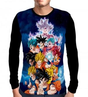 Camisa Manga Longa Goku Sayajin Forms - Dragon Ball Super