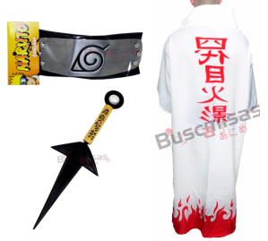 CRF-09 - Yondaime Manto Sobretudo Yondaime Minato com kunai e bandana