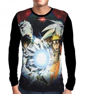 Camisa Manga Longa Jutsu Naruto, Madara e Sasuke