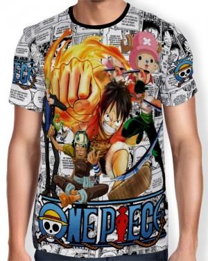 Camisa Full Print - Mangá One Piece