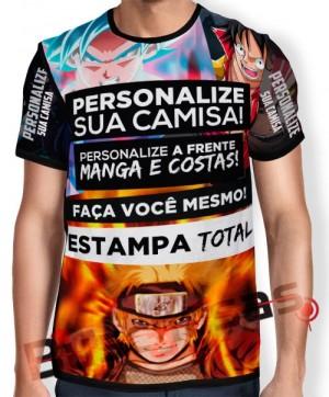 Camisa Estampa Total - Frente - Costas- Mangas - Unissex