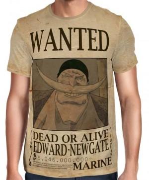 Camisa Full Print Wanted Barba Branca Edward Newgate Com Recompensa - One Piece