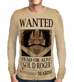Camisa Manga Longa Print Wanted Gol D Roger Com Recompensa - One Piece