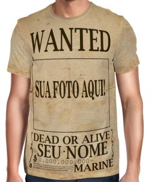 Camisa Full Print One Piece - Wanted Personalizada